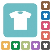T-shirt white flat icons on color rounded square backgrounds - T-shirt rounded square flat icons