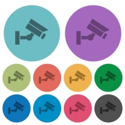 Security camera darker flat icons on color round background - Security camera color darker flat icons