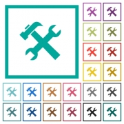 Wrench and hammer tools flat color icons with quadrant frames on white background - Wrench and hammer tools flat color icons with quadrant frames