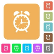 Alarm clock flat icons on rounded square vivid color backgrounds. - Alarm clock rounded square flat icons