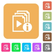 Playlist information flat icons on rounded square vivid color backgrounds. - Playlist information rounded square flat icons