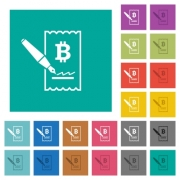 Signing Bitcoin cheque multi colored flat icons on plain square backgrounds. Included white and darker icon variations for hover or active effects.