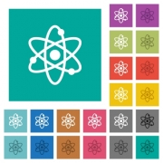 Atom symbol multi colored flat icons on plain square backgrounds. Included white and darker icon variations for hover or active effects. - Atom symbol square flat multi colored icons