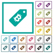 Bitcoin price label flat color icons with quadrant frames on white background - Bitcoin price label flat color icons with quadrant frames