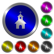 Curch icons on round luminous coin-like color steel buttons - Curch luminous coin-like round color buttons