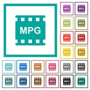 MPG movie format flat color icons with quadrant frames on white background - MPG movie format flat color icons with quadrant frames