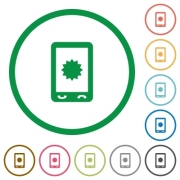 Mobile warranty flat color icons in round outlines on white background - Mobile warranty flat icons with outlines