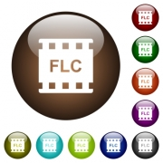 FLC movie format white icons on round color glass buttons