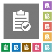 Note done flat icons on simple color square backgrounds - Note done square flat icons