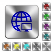 Remote terminal engraved icons on rounded square glossy steel buttons - Remote terminal rounded square steel buttons