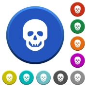 Human skull round color beveled buttons with smooth surfaces and flat white icons - Human skull beveled buttons