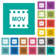 MOV movie format color glass buttons multi colored flat icons on plain square backgrounds. Included white and darker icon variations for hover or active effects. - MOV movie format color glass buttons square flat multi colored icons
