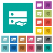 Shared drive multi colored flat icons on plain square backgrounds. Included white and darker icon variations for hover or active effects. - Shared drive square flat multi colored icons