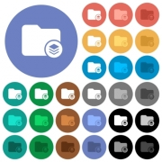 Directory structure multi colored flat icons on round backgrounds. Included white, light and dark icon variations for hover and active status effects, and bonus shades on black backgounds. - Directory structure round flat multi colored icons
