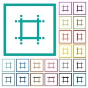 Adjust canvas size flat color icons with quadrant frames on white background - Adjust canvas size flat color icons with quadrant frames