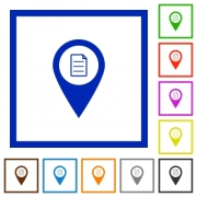 GPS map location details flat color icons in square frames on white background - GPS map location details flat framed icons