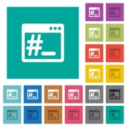 Linux root terminal multi colored flat icons on plain square backgrounds. Included white and darker icon variations for hover or active effects. - Linux root terminal square flat multi colored icons