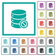 Disabled database flat color icons with quadrant frames on white background - Disabled database flat color icons with quadrant frames