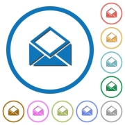 Open mail flat color vector icons with shadows in round outlines on white background - Open mail icons with shadows and outlines