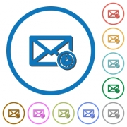 Queued mail flat color vector icons with shadows in round outlines on white background - Queued mail icons with shadows and outlines