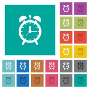 Alarm clock multi colored flat icons on plain square backgrounds. Included white and darker icon variations for hover or active effects.