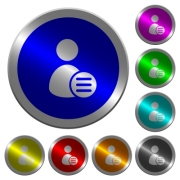 User account options icons on round luminous coin-like color steel buttons - User account options luminous coin-like round color buttons