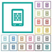 Mobile firewall flat color icons with quadrant frames on white background - Mobile firewall flat color icons with quadrant frames