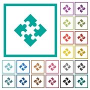 Modules flat color icons with quadrant frames on white background - Modules flat color icons with quadrant frames