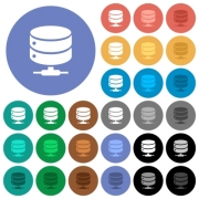 Network database multi colored flat icons on round backgrounds. Included white, light and dark icon variations for hover and active status effects, and bonus shades on black backgounds. - Network database round flat multi colored icons