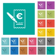 Signing Euro cheque multi colored flat icons on plain square backgrounds. Included white and darker icon variations for hover or active effects. - Signing Euro cheque square flat multi colored icons