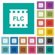 FLC movie format multi colored flat icons on plain square backgrounds. Included white and darker icon variations for hover or active effects. - FLC movie format square flat multi colored icons