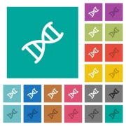 DNA molecule multi colored flat icons on plain square backgrounds. Included white and darker icon variations for hover or active effects. - DNA molecule square flat multi colored icons