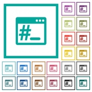 Linux root terminal flat color icons with quadrant frames on white background - Linux root terminal flat color icons with quadrant frames