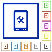 Mobile maintenance flat color icons in square frames on white background - Mobile maintenance flat framed icons