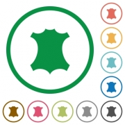 Genuine leather flat color icons in round outlines on white background - Genuine leather flat icons with outlines