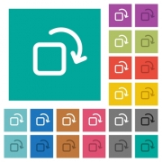 Rotate element multi colored flat icons on plain square backgrounds. Included white and darker icon variations for hover or active effects. - Rotate element square flat multi colored icons