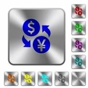 Dollar Yen money exchange engraved icons on rounded square glossy steel buttons - Dollar Yen money exchange rounded square steel buttons