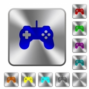 Game controller engraved icons on rounded square glossy steel buttons - Game controller rounded square steel buttons