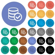 Database ok multi colored flat icons on round backgrounds. Included white, light and dark icon variations for hover and active status effects, and bonus shades on black backgounds. - Database ok round flat multi colored icons