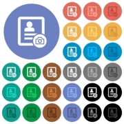 Contact profile picture multi colored flat icons on round backgrounds. Included white, light and dark icon variations for hover and active status effects, and bonus shades on black backgounds. - Contact profile picture round flat multi colored icons
