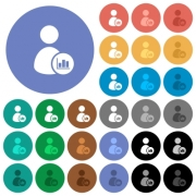 User account statistics multi colored flat icons on round backgrounds. Included white, light and dark icon variations for hover and active status effects, and bonus shades on black backgounds. - User account statistics round flat multi colored icons
