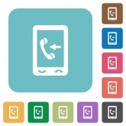 Mobile incoming call white flat icons on color rounded square backgrounds - Mobile incoming call rounded square flat icons