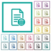 Delete document flat color icons with quadrant frames on white background - Delete document flat color icons with quadrant frames