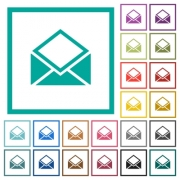 Open mail flat color icons with quadrant frames on white background - Open mail flat color icons with quadrant frames