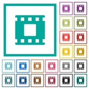 Movie stop flat color icons with quadrant frames on white background - Movie stop flat color icons with quadrant frames