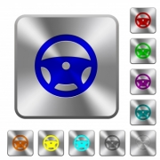 Steering wheel engraved icons on rounded square glossy steel buttons - Steering wheel rounded square steel buttons