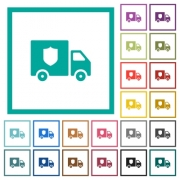 Money deliverer truck flat color icons with quadrant frames on white background - Money deliverer truck flat color icons with quadrant frames