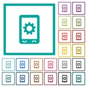 Mobile settings flat color icons with quadrant frames on white background - Mobile settings flat color icons with quadrant frames