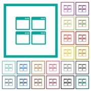 Mosaic window view mode flat color icons with quadrant frames on white background - Mosaic window view mode flat color icons with quadrant frames