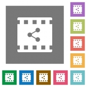 Share movie flat icons on simple color square backgrounds - Share movie square flat icons